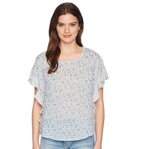 Vince Camuto Floral Woven Ruffled Sleeve Top